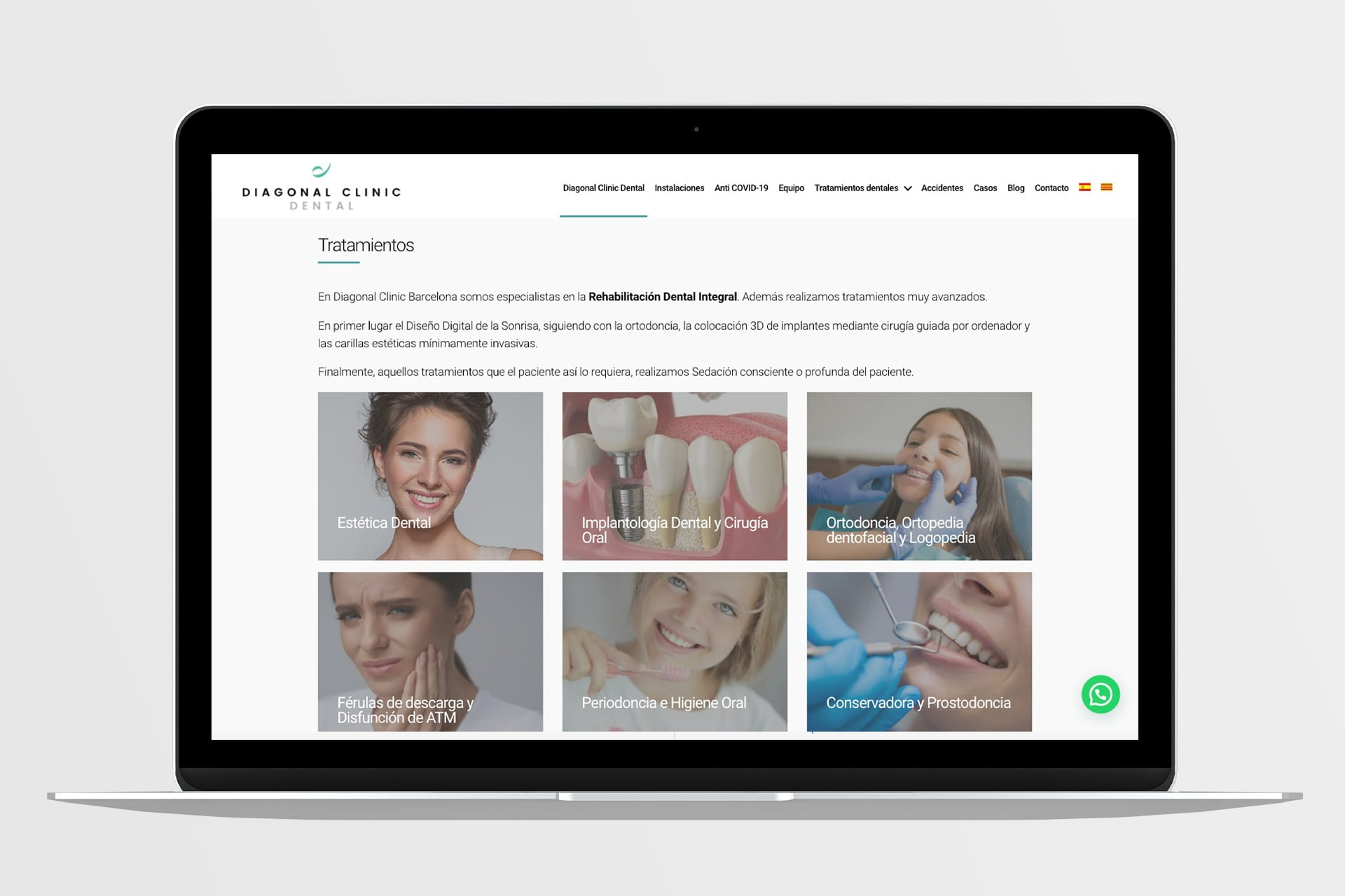 Diseño web para Diagonal Clinic Dental