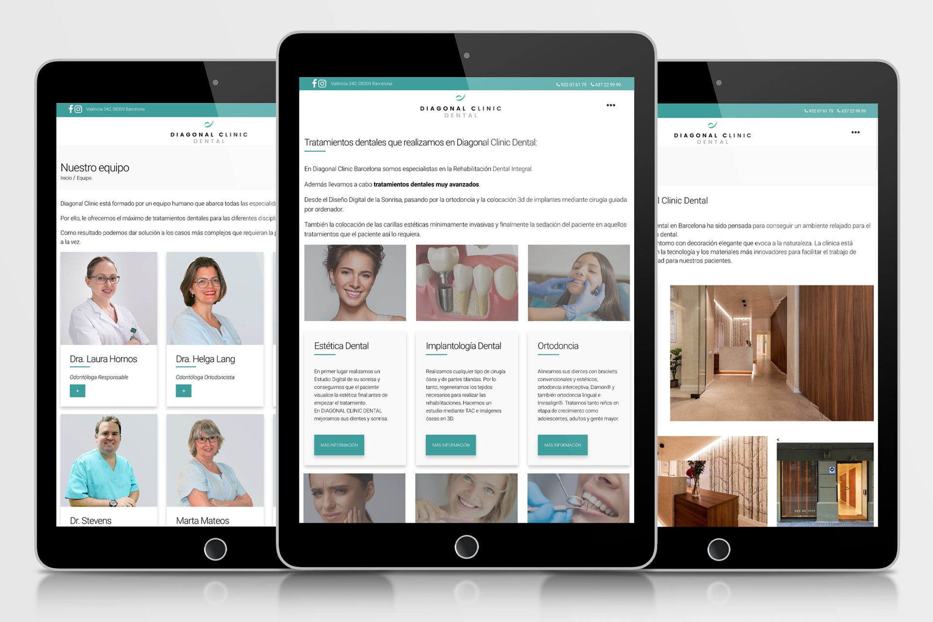 desarrollo web para Diagonal Clinic Dental